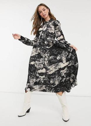 Воздушное платье миди в стиле тай дай р.18