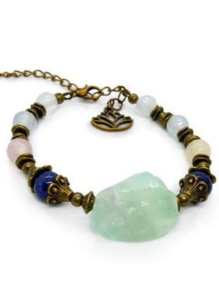 ✨💎 браслет в эко стиле натуральные камни: нефрит необработанный, кварц, лазурит