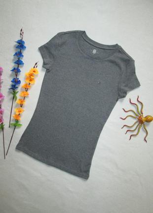 Брендовая стрейчевая трикотажная футболка серый меланж tommy hilfiger оригинал