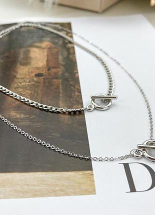 Многослойная цепочка крупная цепь подвеска кольцо колье чокер ожерелье ланцюжок