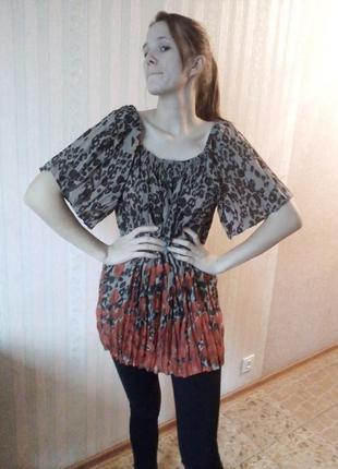 Стильная модная блуза жатка гофре хороший большой размер