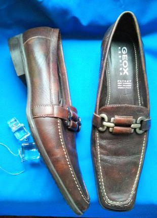 Дышащие кожаные туфли лодочки мокасины туфельки от geox италия 39р-р 25см кожа
