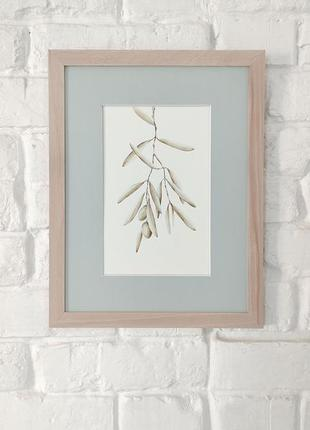 "Акварель ""оливка"" - 38*29,5 см, акварель, папір, паспарту, рамка з склом"