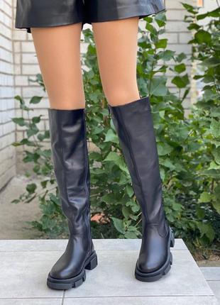 Ботфорты женские кожаные черные 6769д