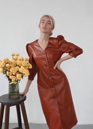 Платье миди из экокожи