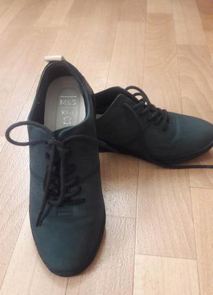 """m&s"". туфли темно-серые. (кожа)"