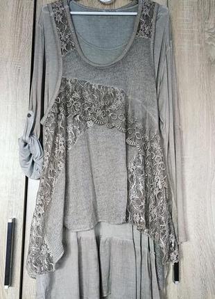 Шикарная итальнская туника туніка платье платья сукня размер 52-54