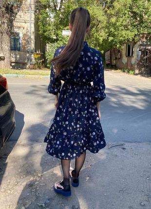 Темно синее платье цветочный принт мелкий цветы