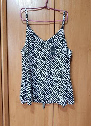 Стильная лёгкая большая маечка, черно-белая майка-блуза, блузка зебра