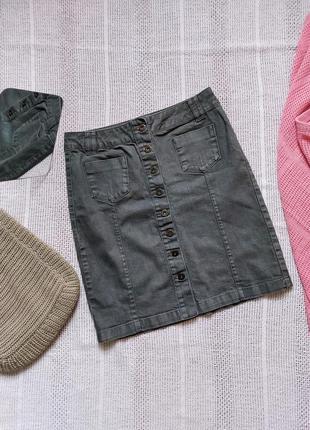 Спідниця на ґудзики  спереді легкий денім юбка на пуговицы