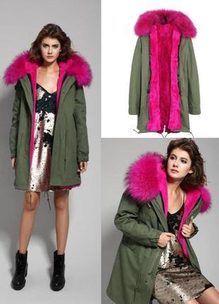 🔥роскошь, шик, стиль! 🔥 зимняя парка куртка 💣 натуральный мех енот подстежка кролик