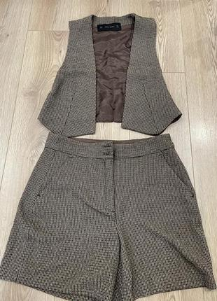 Костюм шорты жилетка костюм двойка
