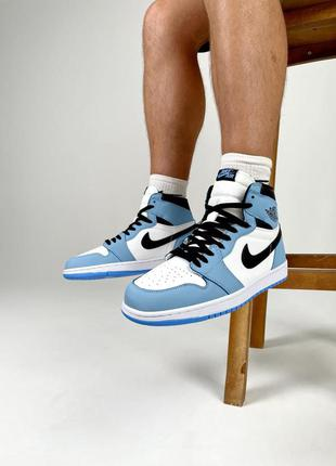 Мужские кроссовки nike air jordan 1 retro white blue
