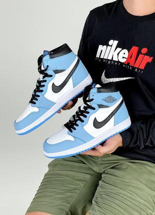 Женские кроссовки nike air jordan 1 retro white blue