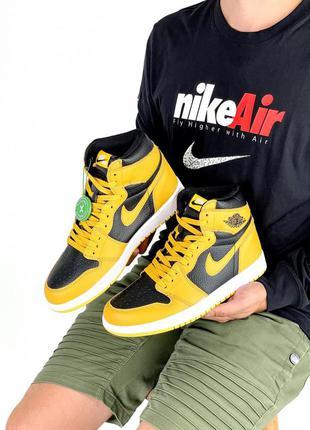 Женские кроссовки nike air jordan 1 retro black/yellow