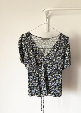 100% віскоза коротка блуза в квіточку