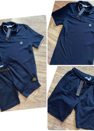 Костюм спортивный с шортами и поло, люкс качество, стамбул, размер хл.