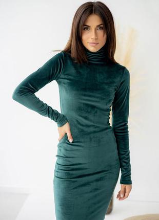 Изумоудное платье футляр, велюровое платье гольф, бархатна універсальна жіноча сукня