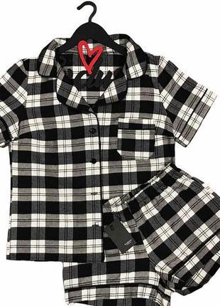 Теплая пижама фланель клетка рубашка и шорты