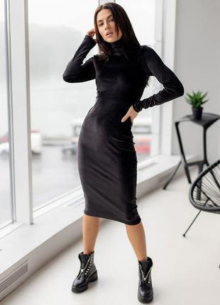 Роскошное чорное велюровое платье гольф, универсальное платье с рукавом, чорна жіноча сукня