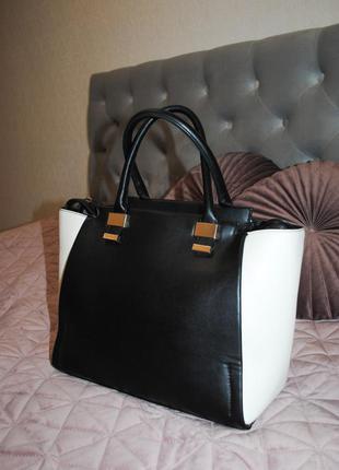 Распродажа! большая сумка черная с белым школьная глубокое отделение с внутренним кармашкдля учебы