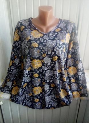Коттоновая трикотажная блуза большого размера батал