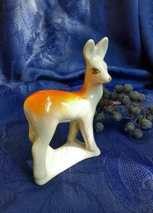 Статуэтка ссср олененок фарфор подглазурная роспись полонский зхк полонное олень фигурка