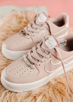 Женские розовые кроссовки nike air force low pink низкие найк осенние
