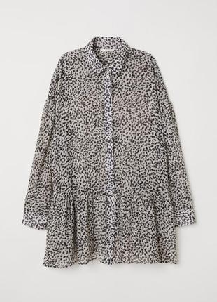 Шифоновая туника, блуза h&m / m / леопардовый принт