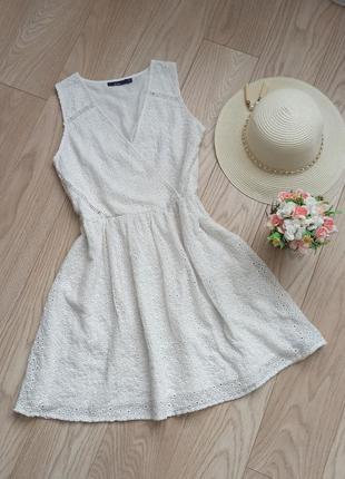 Белое ажурное платье из прошвы, р.l