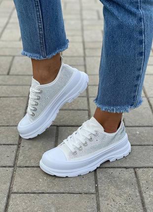 Кеды белые со стразами женские кроссовки кросівки жіночі кеди білі зі стразами