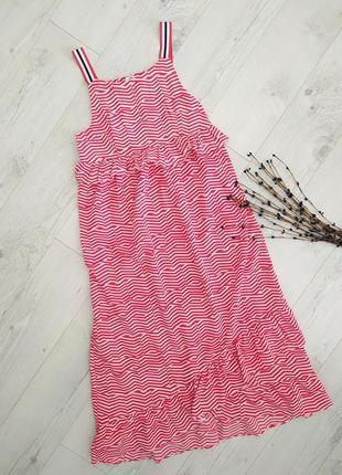 Плаття сарафан з воланами рюшками міді