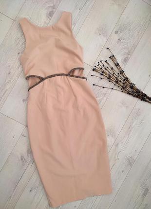 Нюдове пудрове плаття міді футляр з бісером