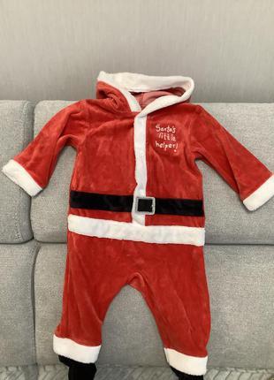 Новогодний костюм санты на малыша 6-9 месяцев