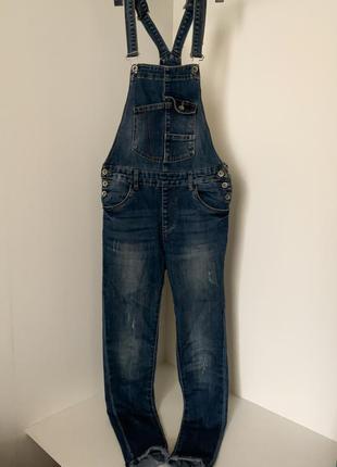 Женский джинсовый брючный облегающий комбинезон синий голубой с карманами