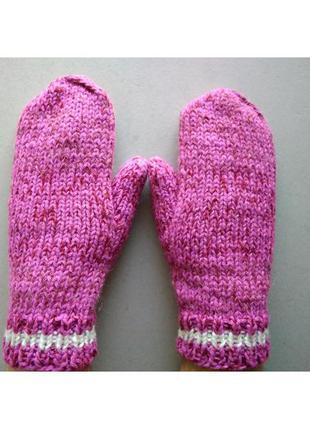 Теплые вязаные рукавицы варежки розовые зимние очень оригинальные, стильные и удобные