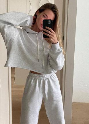 Костюм двойка спортивный женский, кофта - худи с капюшоном и штаны, серо - белый 42-46 хс -с - м