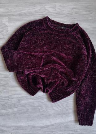 Шикарный баклажановый велюровый плюшевый свитер