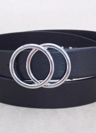 Черный женский кожаный ремень пряжка-кольца