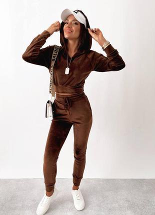 Спортивный прогулочный костюм из велюра плюша штаны высокая посадка с карманами укороченная кофта с капюшоном кат