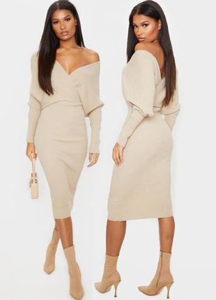 Распродажа вязаное платье prettylittleting миди/макси на запах c asos