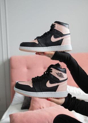 Кроссовки женские nike air jordan 1 black\pink найк джордан