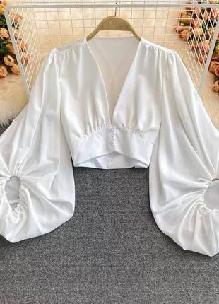 Белая блуза , блуза с пышными рукавами , короткая блуза