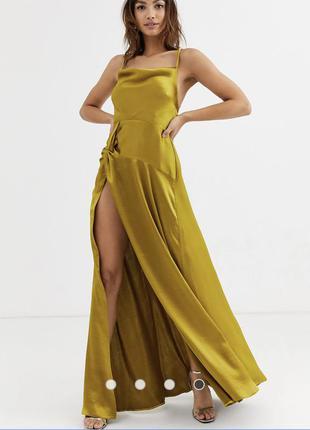 Атласное платье макси со свободным воротом и разрезом до бедра asos design