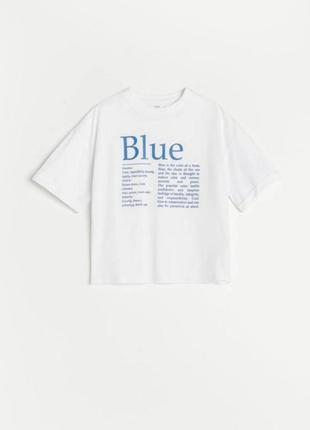 Стильная натуральная хлопковая футболка с принтом надписью blue