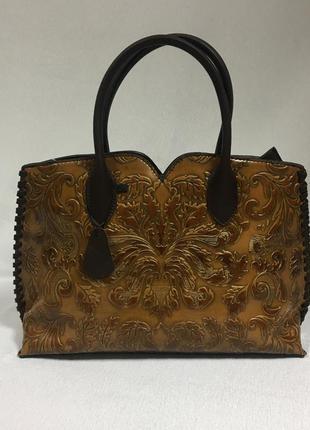 Женская кожаная сумка с тиснением ! эксклюзив!