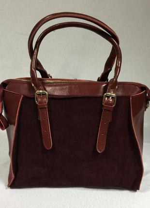 Кожаная сумка бордового цвета с вставками из натуральной замши, цена ... b9cf4c828b9