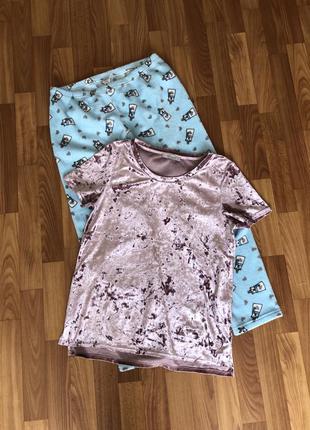 Пижама комплект для дома сна штаны футболка