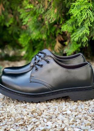 Dr. martens 1461 mono black    туфли кожаные черные