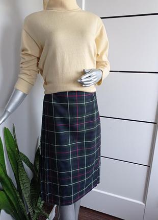 Юбка в клетку, юбка шотланка, юбка плиссе, юбка миди, юбка из шерсти
